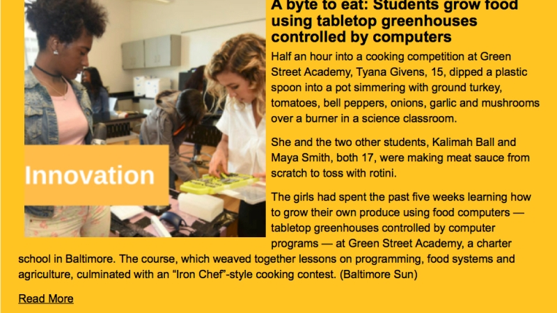 Food Computer Program Featured in Baltimore Mayor's Weekly Newsletter